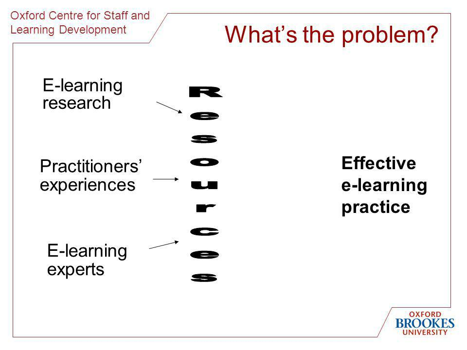 Oxford Centre for Staff and Learning Development E-learning research Practitioners experiences Effective e-learning practice E-learning experts Whats