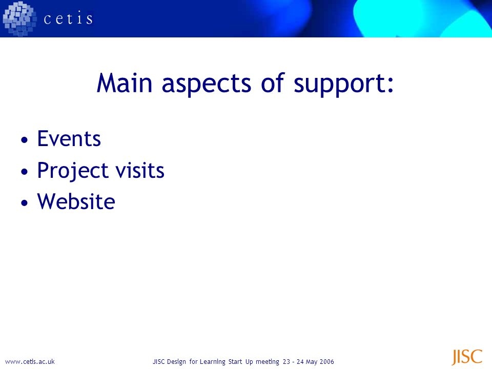 Design for Learning Start Up meeting 23 – 24 May 2006 Main aspects of support: Events Project visits Website
