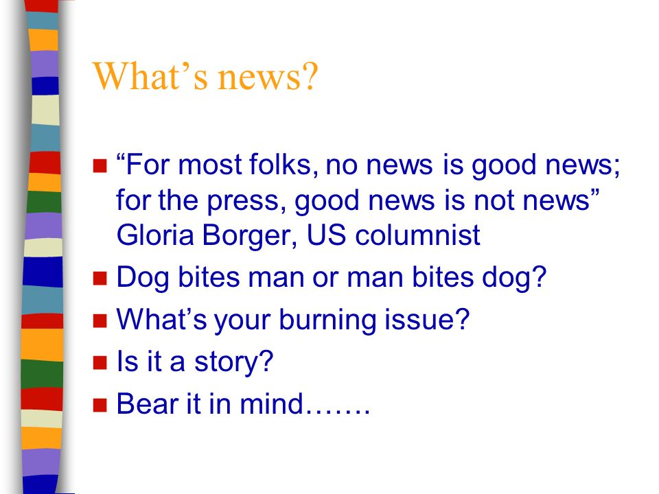 Whats news.