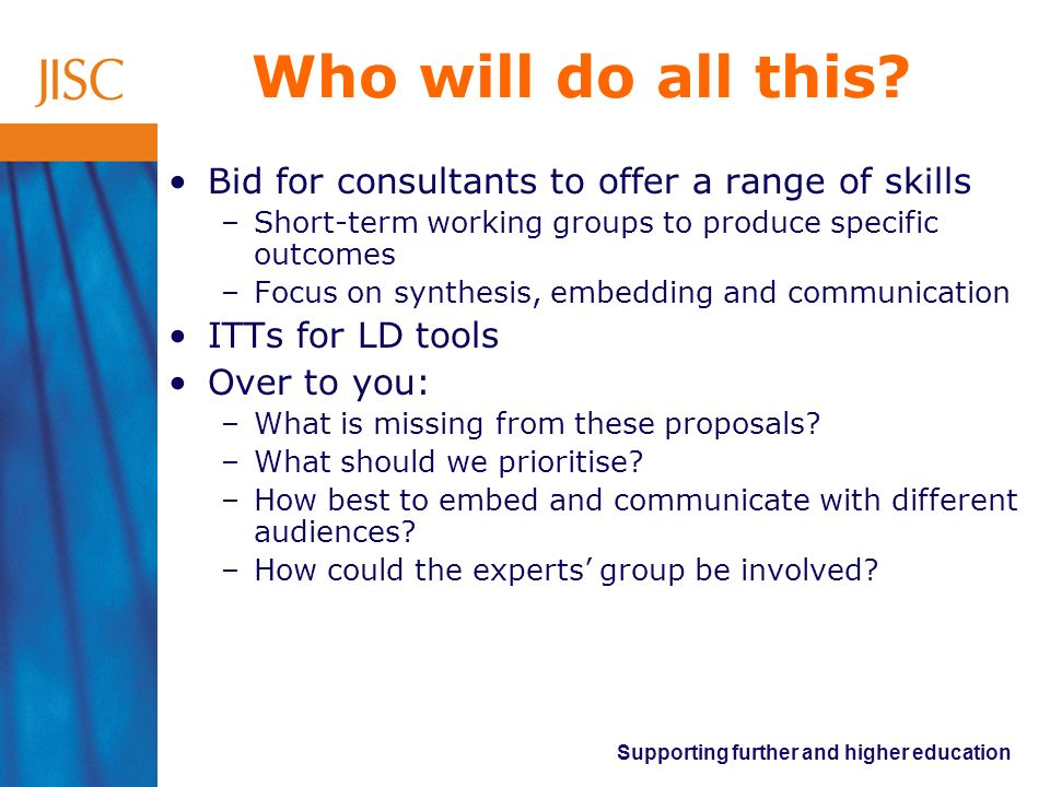 Supporting further and higher education Who will do all this? Bid for consultants to offer a range of skills –Short-term working groups to produce spe
