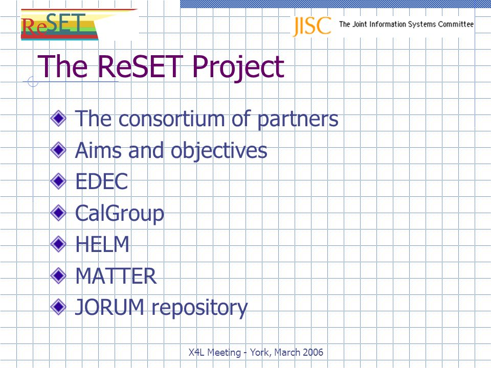 X4L Meeting - York, March 2006 The ReSET Project The consortium of partners Aims and objectives EDEC CalGroup HELM MATTER JORUM repository