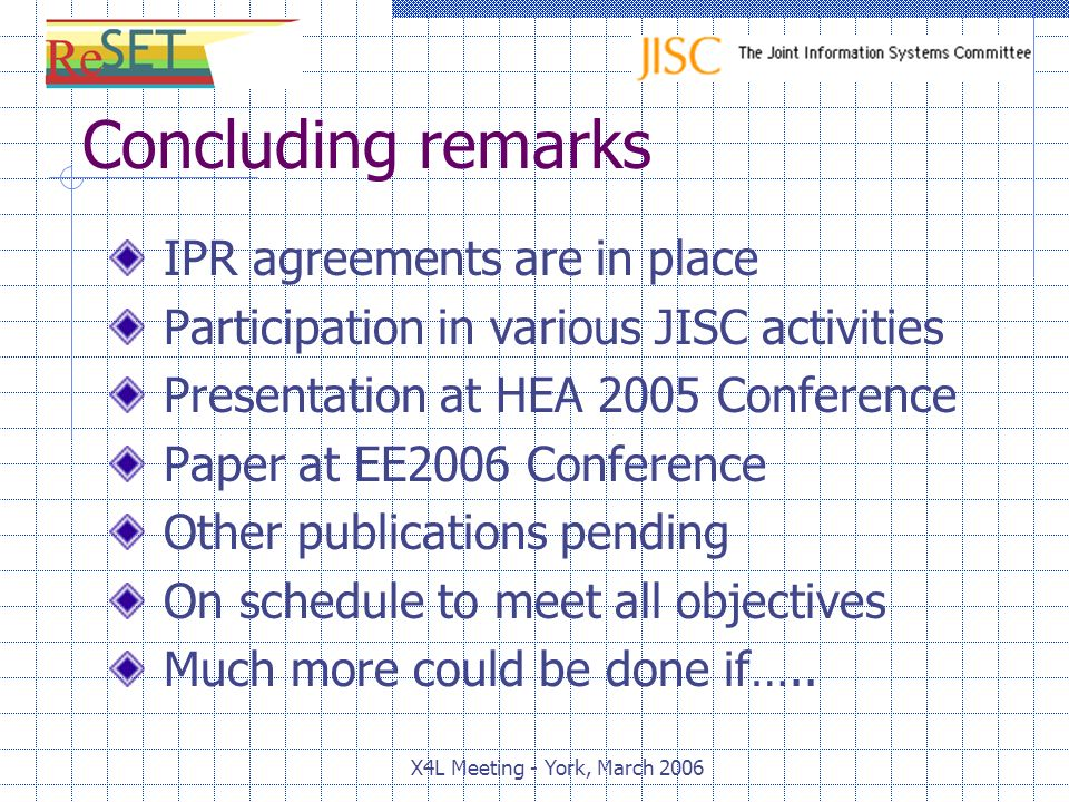 Concluding remarks IPR agreements are in place Participation in various JISC activities Presentation at HEA 2005 Conference Paper at EE2006 Conference Other publications pending On schedule to meet all objectives Much more could be done if…..