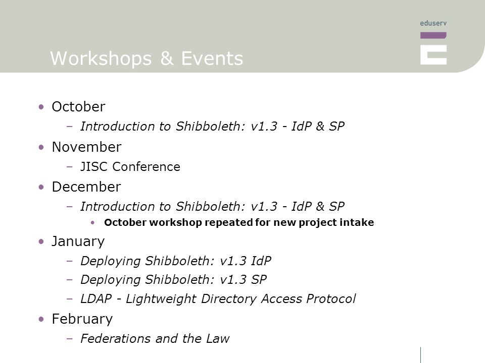 Workshops & Events October –Introduction to Shibboleth: v1.3 - IdP & SP November –JISC Conference December –Introduction to Shibboleth: v1.3 - IdP & SP October workshop repeated for new project intake January –Deploying Shibboleth: v1.3 IdP –Deploying Shibboleth: v1.3 SP –LDAP - Lightweight Directory Access Protocol February –Federations and the Law