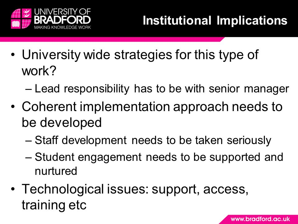 University wide strategies for this type of work.