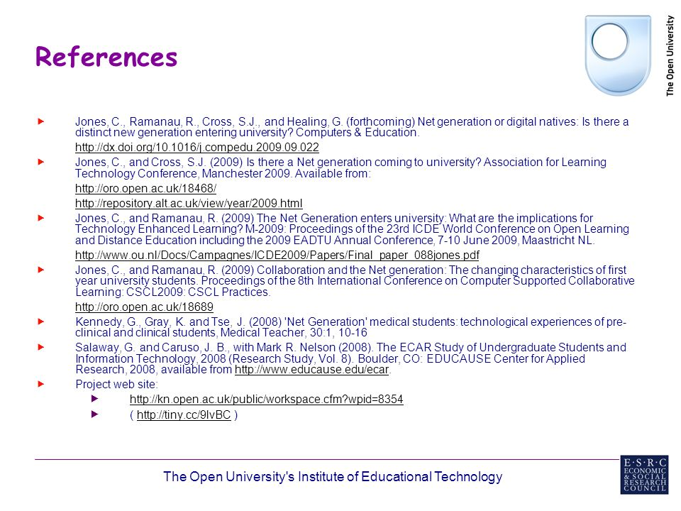 The Open University s Institute of Educational Technology References Jones, C., Ramanau, R., Cross, S.J., and Healing, G.