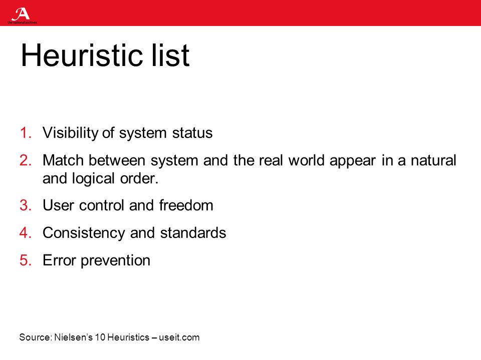 Heuristic list 1.Visibility of system status 2.Match between system and the real world appear in a natural and logical order.