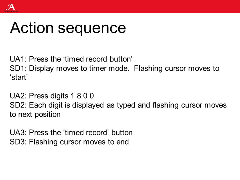 Action sequence UA1: Press the timed record button SD1: Display moves to timer mode.