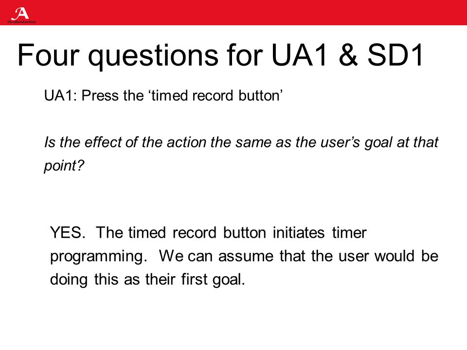 Four questions for UA1 & SD1 UA1: Press the timed record button Is the effect of the action the same as the users goal at that point.