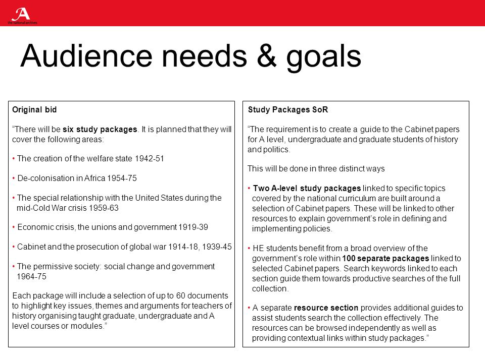 Audience needs & goals Original bid There will be six study packages.