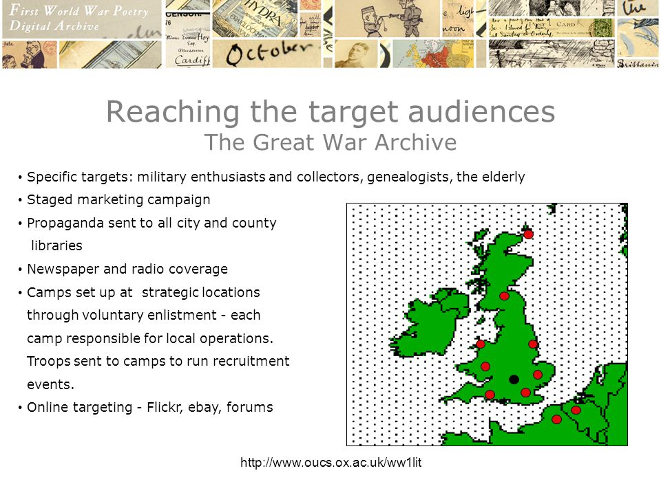 http://www.oucs.ox.ac.uk/ww1lit Reaching the target audiences The Great War Archive Specific targets: military enthusiasts and collectors, genealogists, the elderly Staged marketing campaign Propaganda sent to all city and county libraries Newspaper and radio coverage Camps set up at strategic locations through voluntary enlistment - each camp responsible for local operations.
