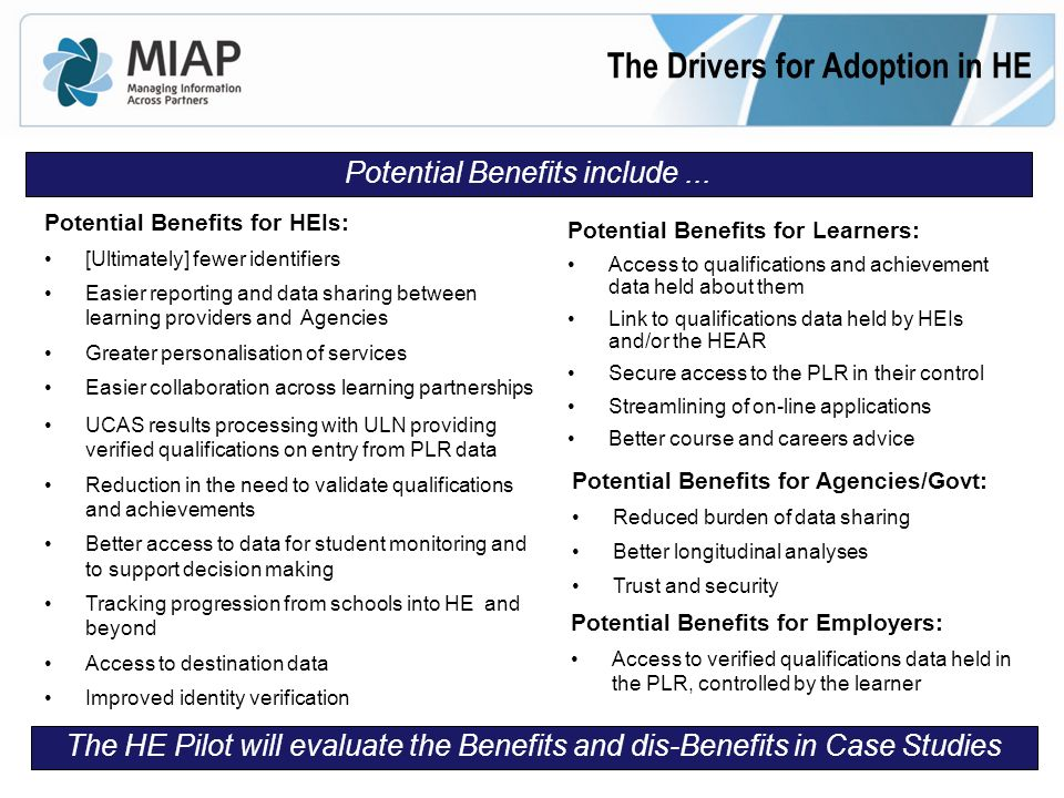 The Drivers for Adoption in HE Potential Benefits for Learners: Access to qualifications and achievement data held about them Link to qualifications data held by HEIs and/or the HEAR Secure access to the PLR in their control Streamlining of on-line applications Better course and careers advice Potential Benefits for HEIs: [Ultimately] fewer identifiers Easier reporting and data sharing between learning providers and Agencies Greater personalisation of services Easier collaboration across learning partnerships UCAS results processing with ULN providing verified qualifications on entry from PLR data Reduction in the need to validate qualifications and achievements Better access to data for student monitoring and to support decision making Tracking progression from schools into HE and beyond Access to destination data Improved identity verification Potential Benefits for Agencies/Govt: Reduced burden of data sharing Better longitudinal analyses Trust and security Potential Benefits include...