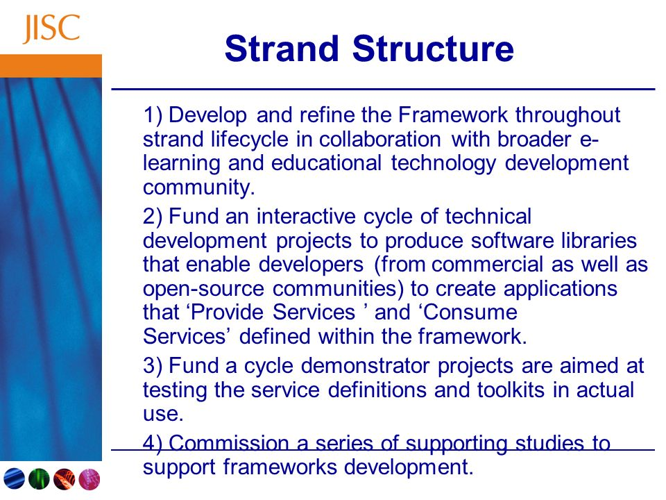 Strand Structure 1) Develop and refine the Framework throughout strand lifecycle in collaboration with broader e- learning and educational technology development community.