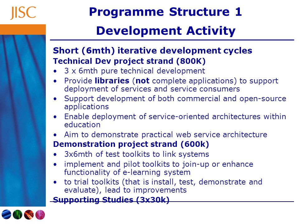 Programme Structure 1 Development Activity Short (6mth) iterative development cycles Technical Dev project strand (800K) 3 x 6mth pure technical development Provide libraries (not complete applications) to support deployment of services and service consumers Support development of both commercial and open-source applications Enable deployment of service-oriented architectures within education Aim to demonstrate practical web service architecture Demonstration project strand (600k) 3x6mth of test toolkits to link systems implement and pilot toolkits to join-up or enhance functionality of e-learning system to trial toolkits (that is install, test, demonstrate and evaluate), lead to improvements Supporting Studies (3x30k)