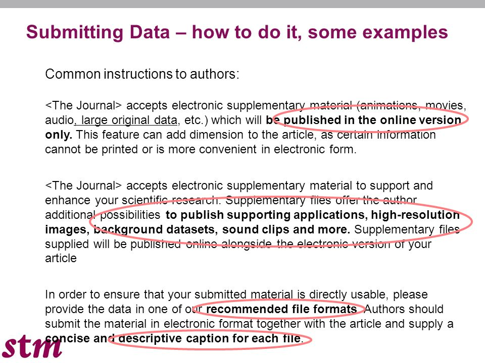 3 Some examples for external linking: If your article contains relevant unique identifiers or accession numbers (bioinformatics) linking to information on entities (genes, proteins, diseases, etc.) or structures deposited in public databases, then please indicate those entities according to the standard explained below.