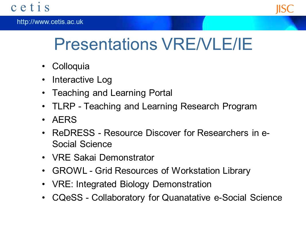 ceti s http://www.cetis.ac.uk c e t i s More Recommendations Investigate techniques for the learner/researcher to own their information over their lifetime and share it with institutions and groups at the appropriate time.