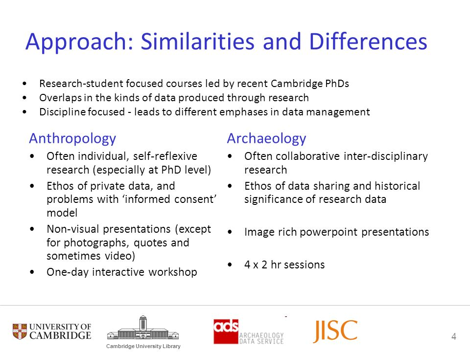 4 Cambridge University Library Approach: Similarities and Differences Research-student focused courses led by recent Cambridge PhDs Overlaps in the ki