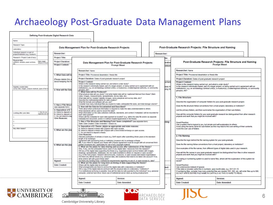6 Cambridge University Library Archaeology Post-Graduate Data Management Plans