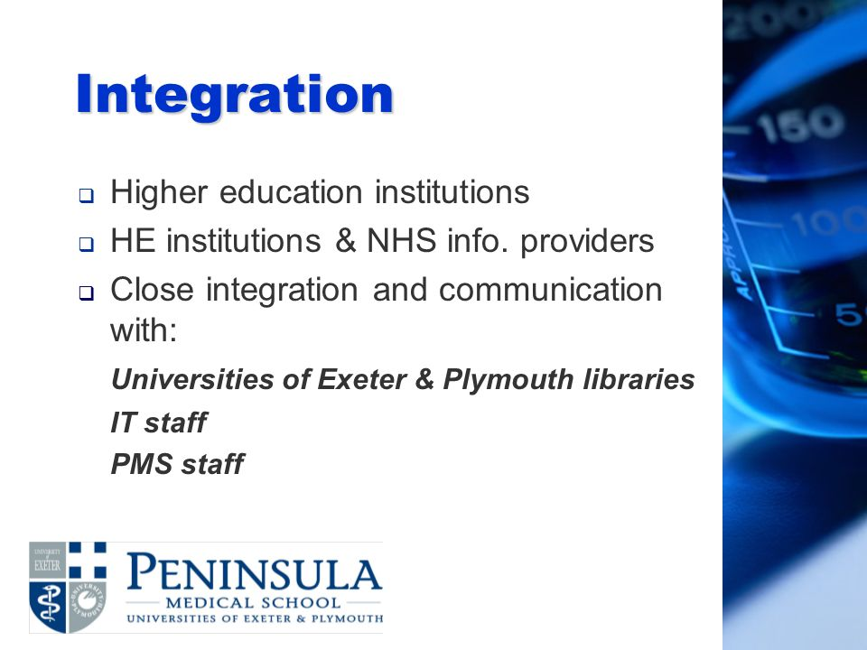 Integration Higher education institutions HE institutions & NHS info.