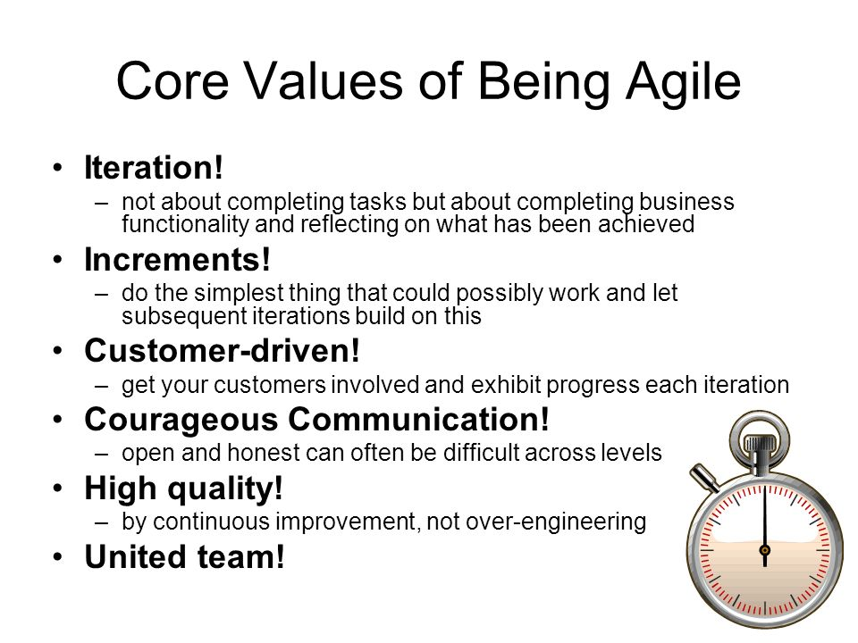 Core Values of Being Agile Iteration.
