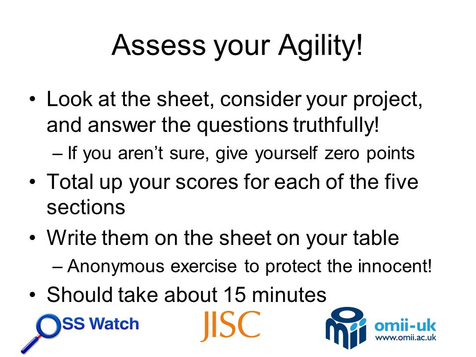 Assess your Agility. Look at the sheet, consider your project, and answer the questions truthfully.
