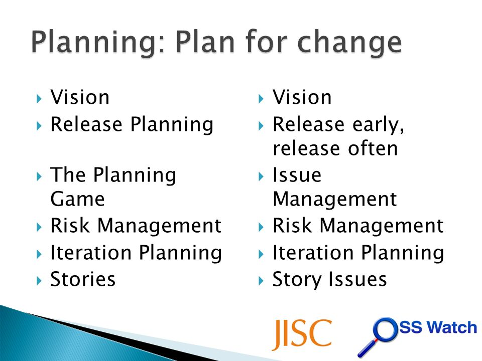 Vision Release Planning The Planning Game Risk Management Iteration Planning Stories Vision Release early, release often Issue Management Risk Management Iteration Planning Story Issues