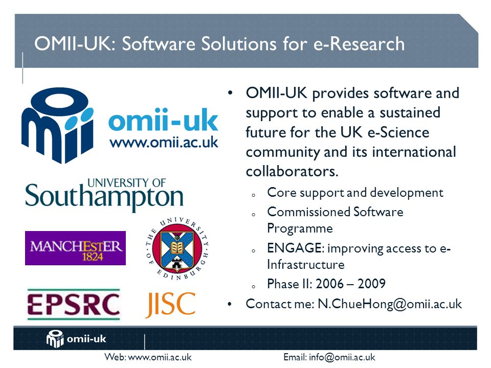 We have staff experienced in both open and agile development We can mentor your team info@oss-watch.ac.uk (or a bar near here) Help on software development and infrastructure Work with projects to improve sustainability of software Consultancy (and some funding) available info@omii.ac.uk