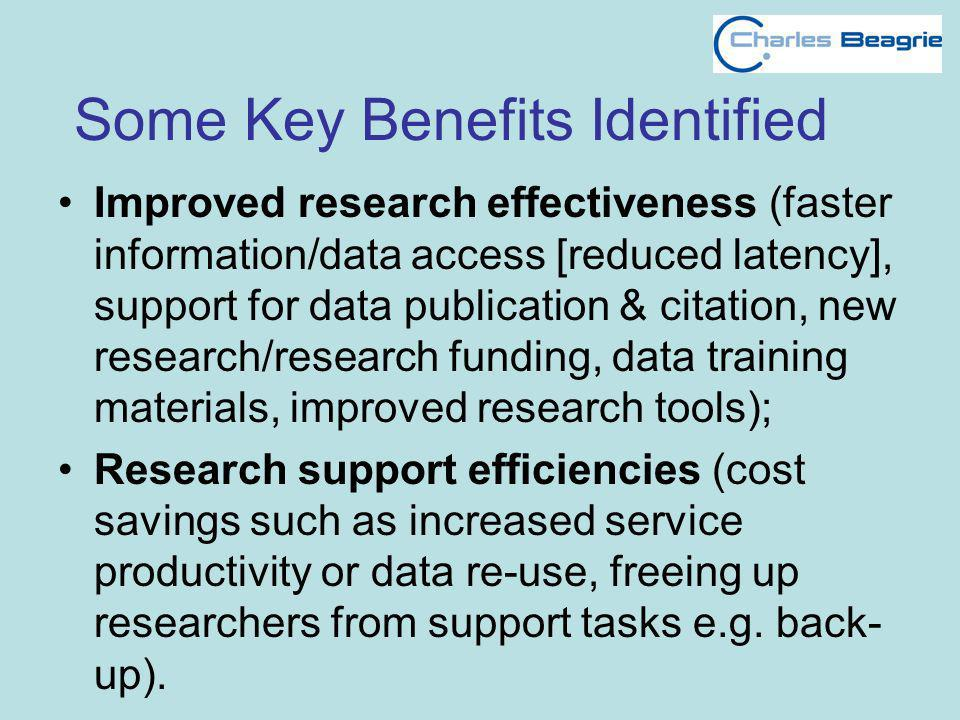 Some Key Benefits Identified Improved research effectiveness (faster information/data access [reduced latency], support for data publication & citatio