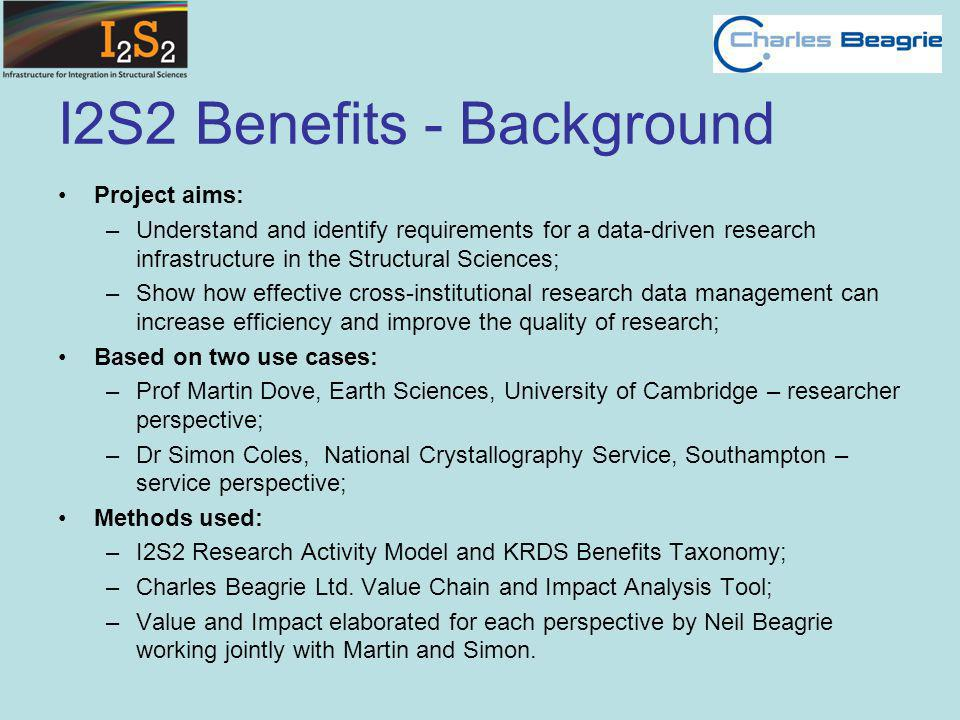 I2S2 Benefits - Background Project aims: –Understand and identify requirements for a data-driven research infrastructure in the Structural Sciences; –