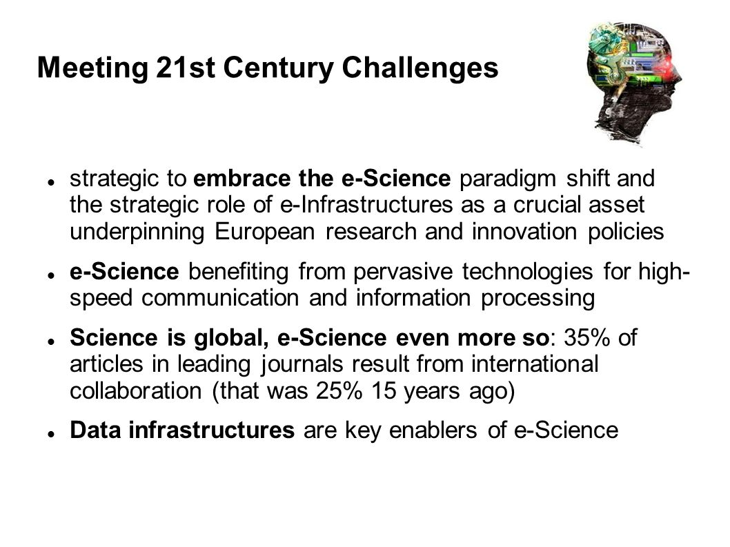 Meeting 21st Century Challenges strategic to embrace the e-Science paradigm shift and the strategic role of e-Infrastructures as a crucial asset under