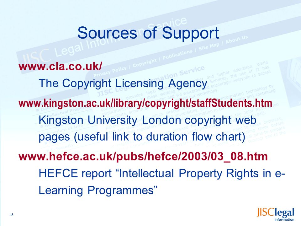 18 Sources of Support www.cla.co.uk/ The Copyright Licensing Agency www.kingston.ac.uk/library/copyright/staffStudents.htm Kingston University London copyright web pages (useful link to duration flow chart) www.hefce.ac.uk/pubs/hefce/2003/03_08.htm HEFCE report Intellectual Property Rights in e- Learning Programmes