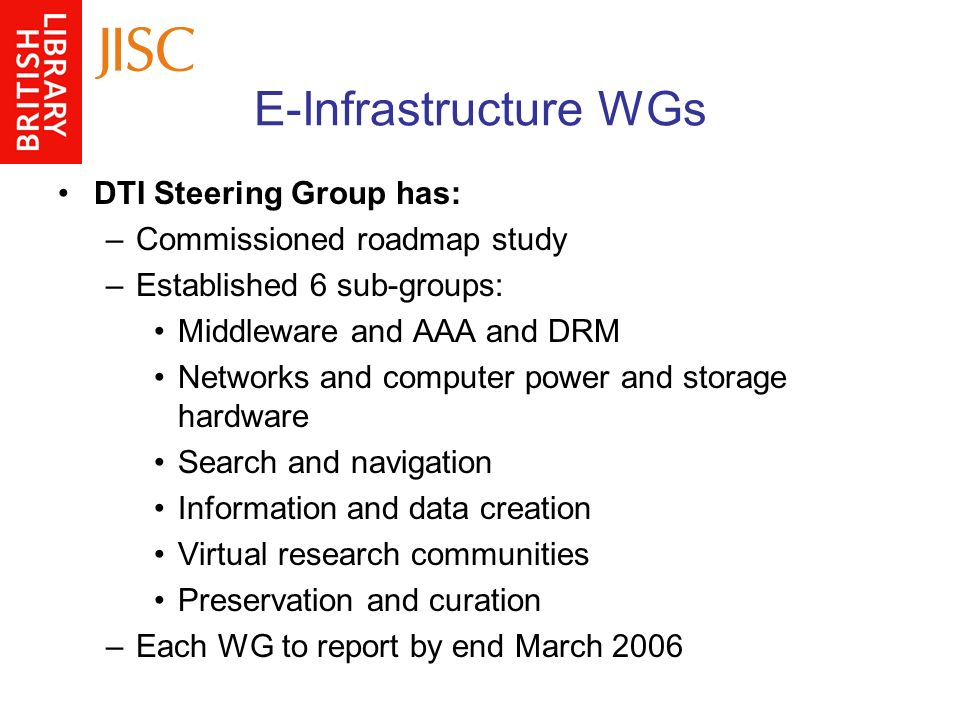 E-Infrastructure WGs DTI Steering Group has: –Commissioned roadmap study –Established 6 sub-groups: Middleware and AAA and DRM Networks and computer power and storage hardware Search and navigation Information and data creation Virtual research communities Preservation and curation –Each WG to report by end March 2006