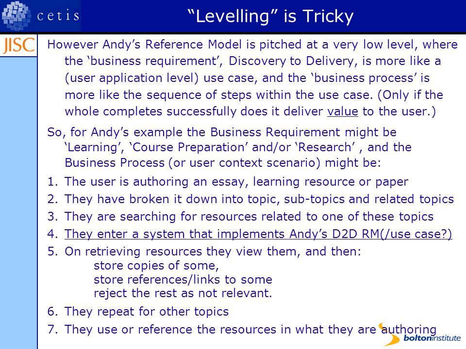 Levelling is Tricky However Andys Reference Model is pitched at a very low level, where the business requirement, Discovery to Delivery, is more like