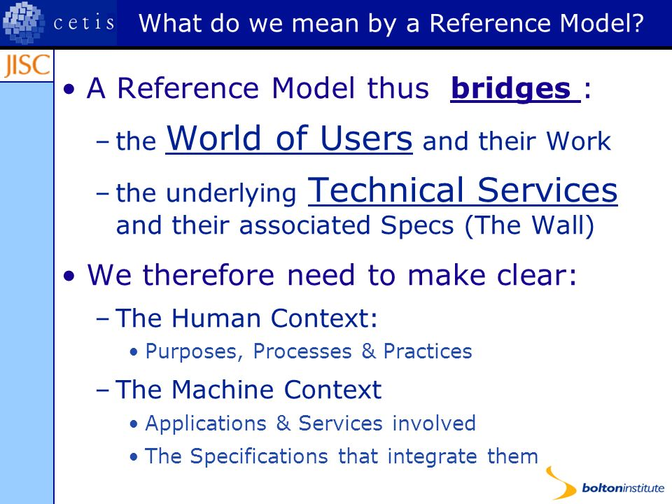 What do we mean by a Reference Model.