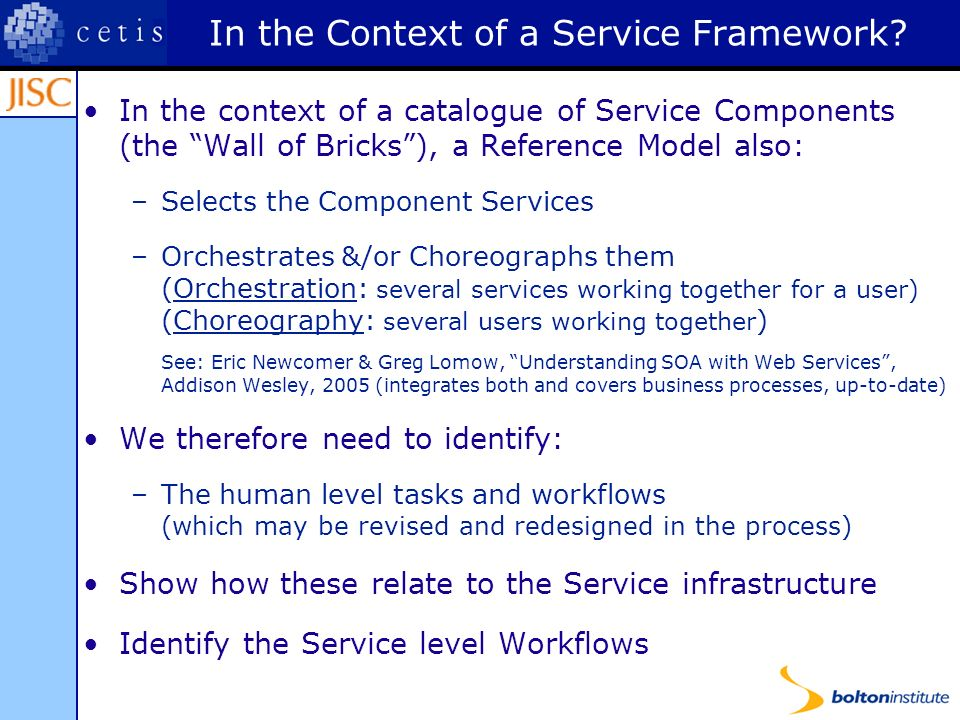 Reference Model Call Briefing 1) Domain Scope and Aim of Reference Model A clear definition of the domain-area of the reference model and the aims and scope of the Reference Model.