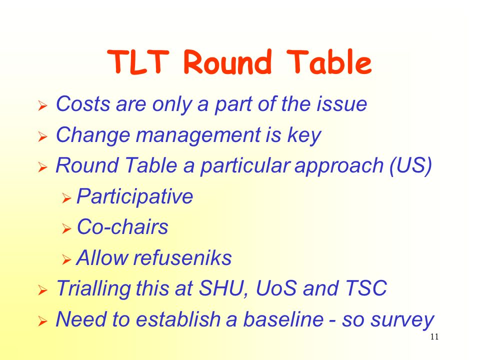 11 TLT Round Table Costs are only a part of the issue Change management is key Round Table a particular approach (US) Participative Co-chairs Allow re