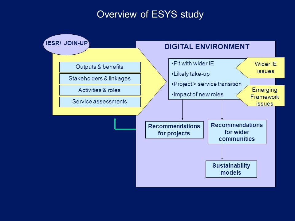 Overview of ESYS study Service assessments Outputs & benefits Stakeholders & linkages Activities & roles IESR/ JOIN-UP DIGITAL ENVIRONMENT Fit with wider IE Likely take-up Project > service transition Impact of new roles Recommendations for projects Recommendations for wider communities Wider IE issues Emerging Framework issues Sustainability models