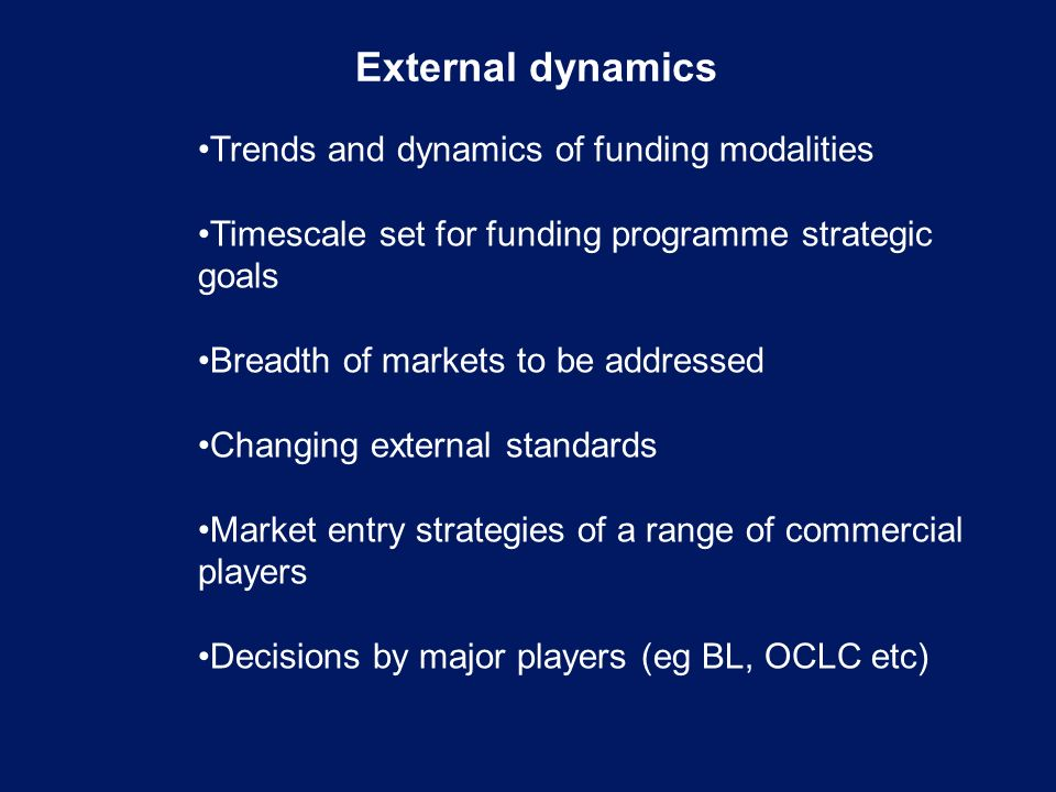External dynamics Trends and dynamics of funding modalities Timescale set for funding programme strategic goals Breadth of markets to be addressed Changing external standards Market entry strategies of a range of commercial players Decisions by major players (eg BL, OCLC etc)