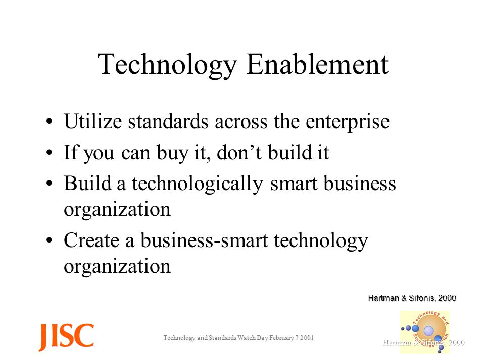 Technology and Standards Watch Day February Technology Enablement Utilize standards across the enterprise If you can buy it, dont build it Build a technologically smart business organization Create a business-smart technology organization Hartman & Sifonis, 2000