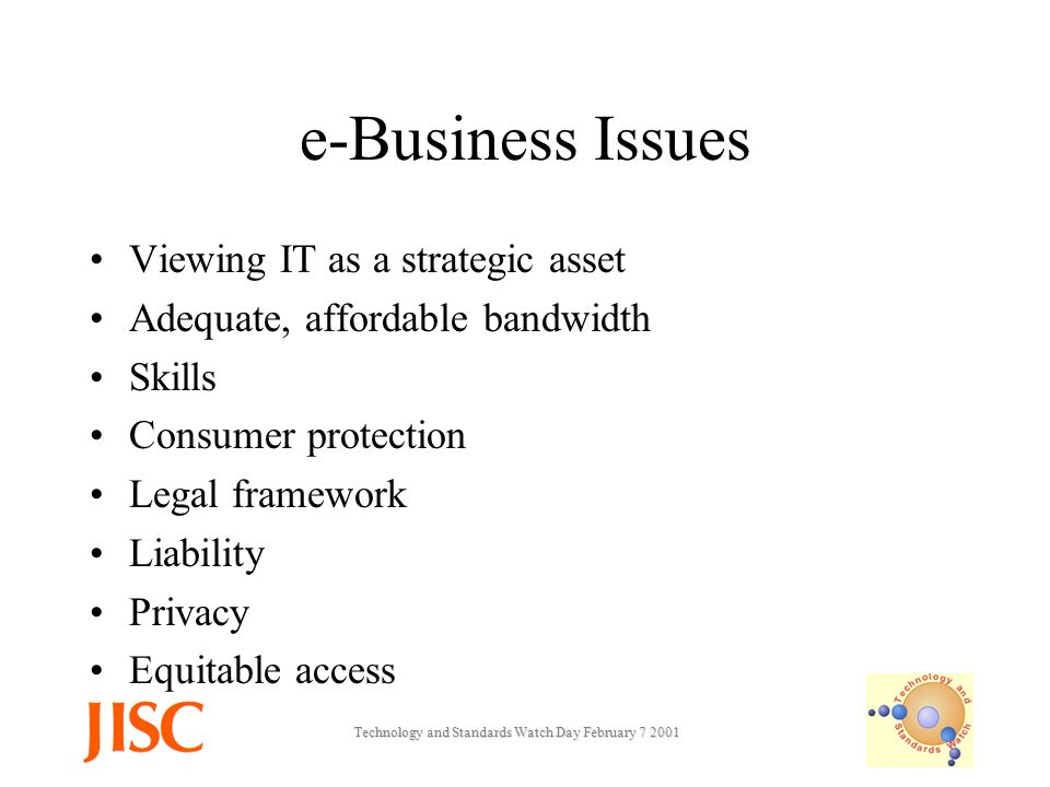 Technology and Standards Watch Day February e-Business Issues Viewing IT as a strategic asset Adequate, affordable bandwidth Skills Consumer protection Legal framework Liability Privacy Equitable access