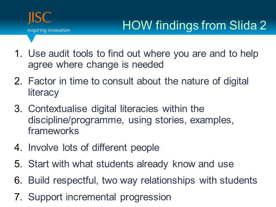 HOW findings from Slida 2 1.Use audit tools to find out where you are and to help agree where change is needed 2.Factor in time to consult about the n