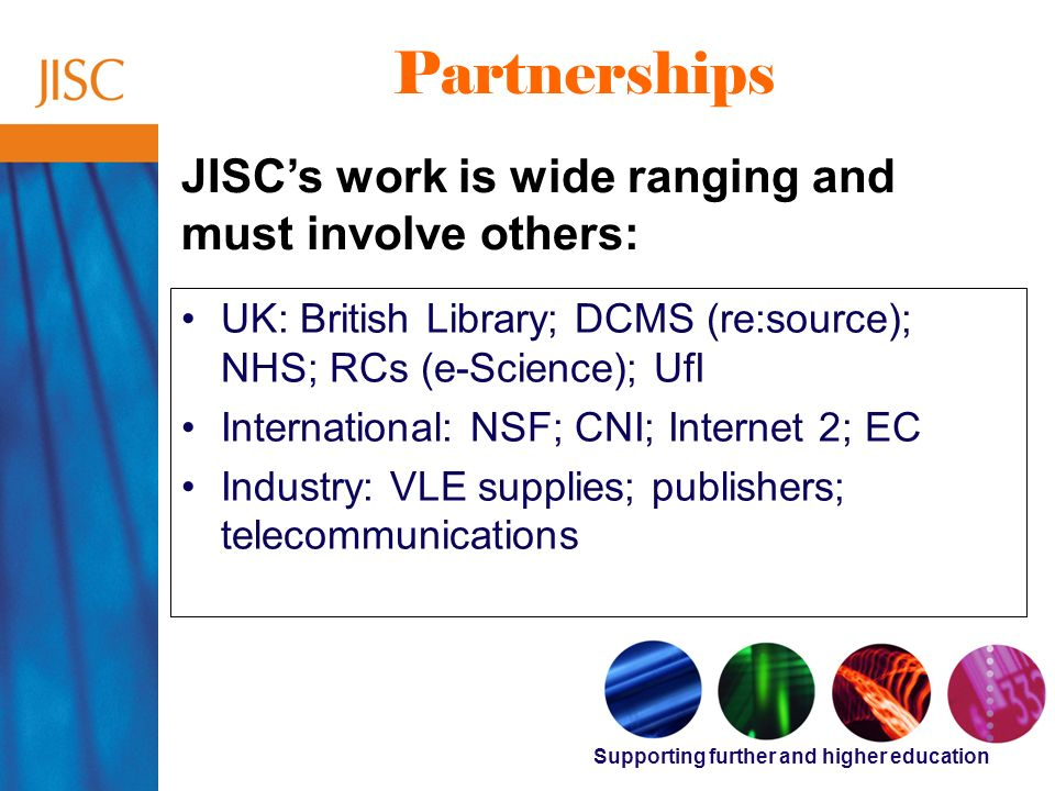 Supporting further and higher education Partnerships UK: British Library; DCMS (re:source); NHS; RCs (e-Science); UfI International: NSF; CNI; Internet 2; EC Industry: VLE supplies; publishers; telecommunications JISCs work is wide ranging and must involve others: