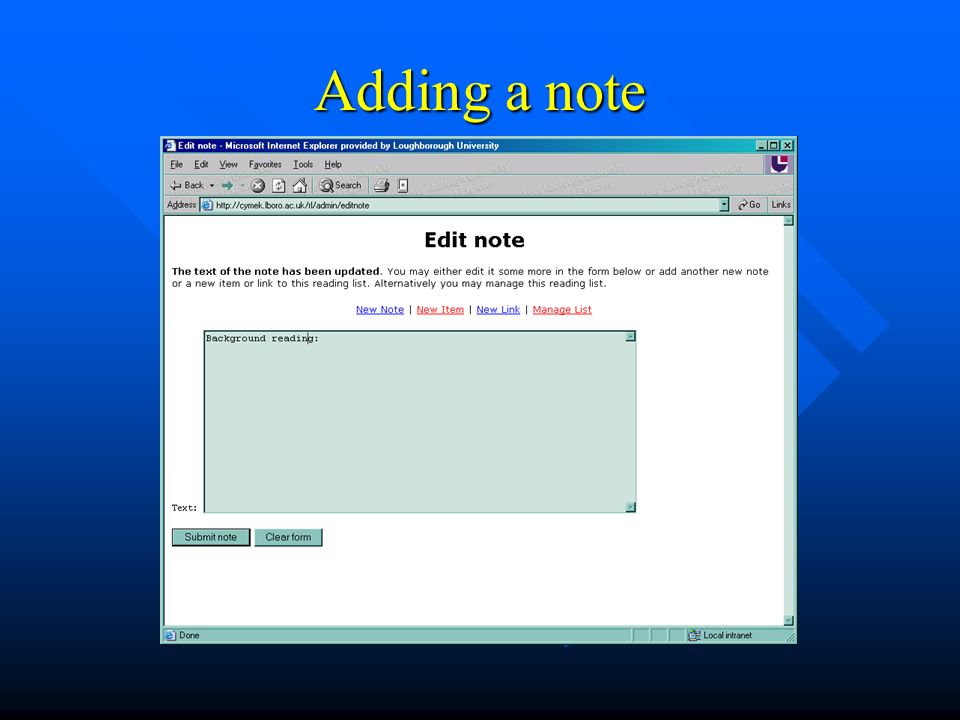 Adding a note