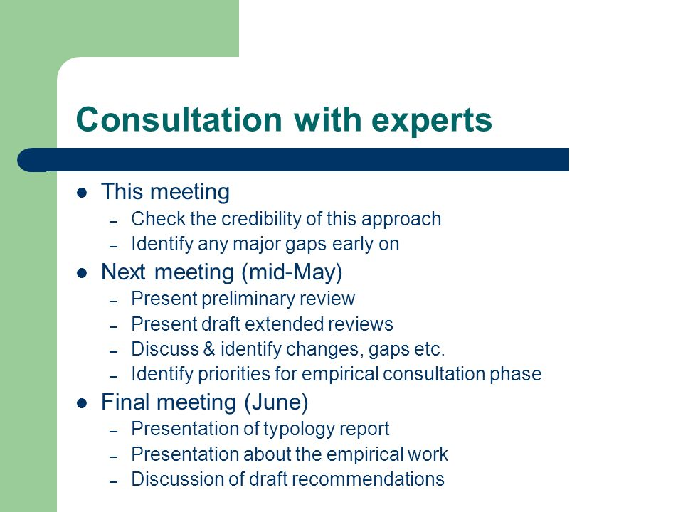 Consultation with experts This meeting – Check the credibility of this approach – Identify any major gaps early on Next meeting (mid-May) – Present preliminary review – Present draft extended reviews – Discuss & identify changes, gaps etc.