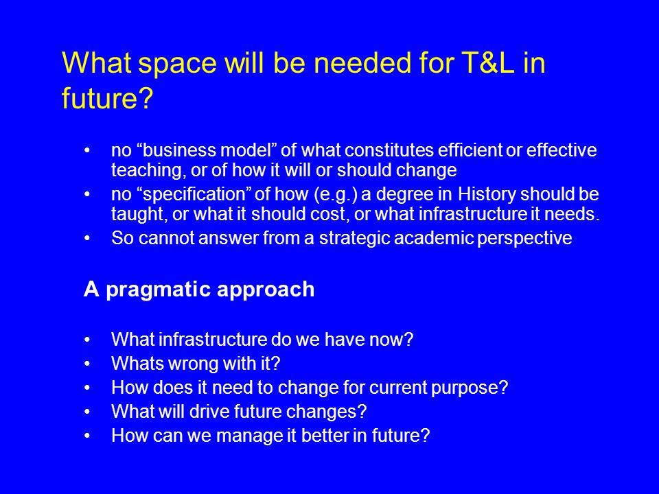 What space will be needed for T&L in future.
