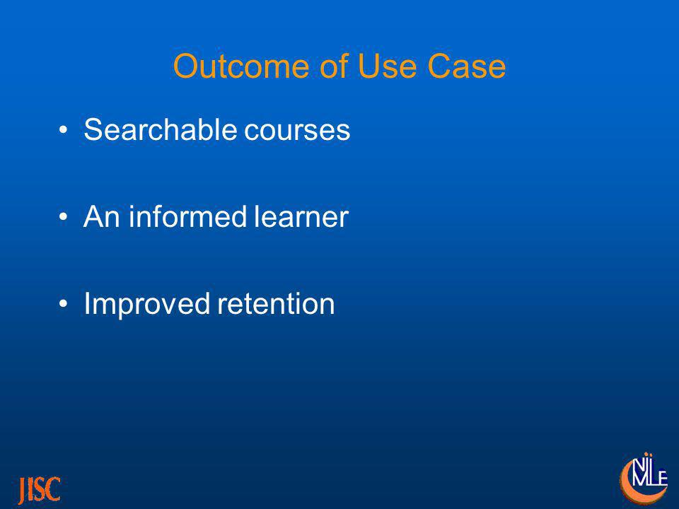 Outcome of Use Case Searchable courses An informed learner Improved retention