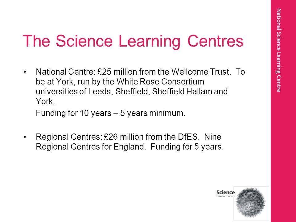 The Science Learning Centres National Centre: £25 million from the Wellcome Trust.