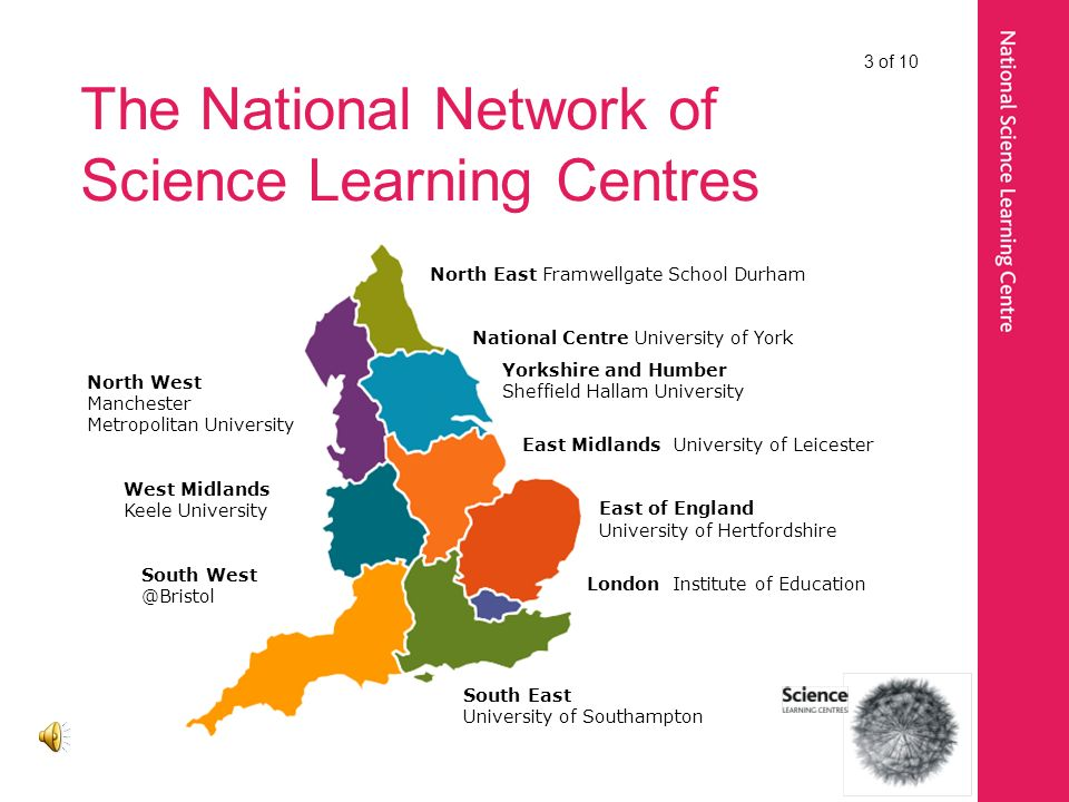 The National Network of Science Learning Centres North East Framwellgate School Durham National Centre University of York Yorkshire and Humber Sheffield Hallam University East Midlands University of Leicester East of England University of Hertfordshire London Institute of Education South East University of Southampton North West Manchester Metropolitan University West Midlands Keele University South West @Bristol 3 of 10