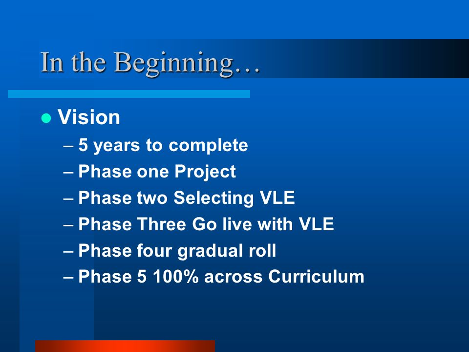 In the Beginning… Vision –5 years to complete –Phase one Project –Phase two Selecting VLE –Phase Three Go live with VLE –Phase four gradual roll –Phase 5 100% across Curriculum