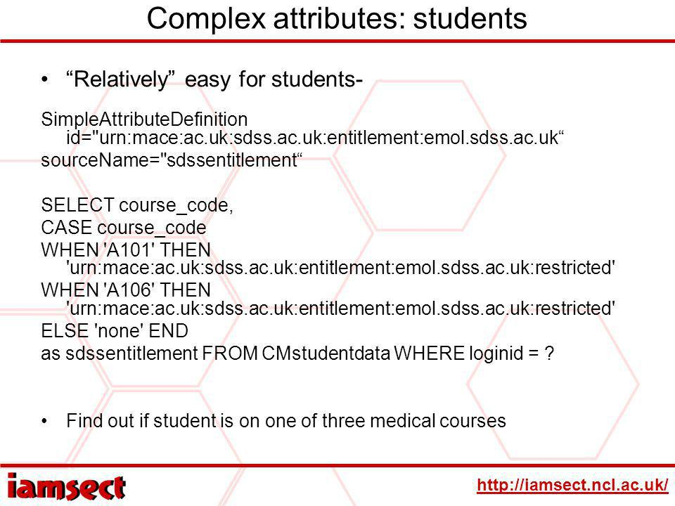 http://iamsect.ncl.ac.uk/ Complex attributes: students Relatively easy for students- SimpleAttributeDefinition id=