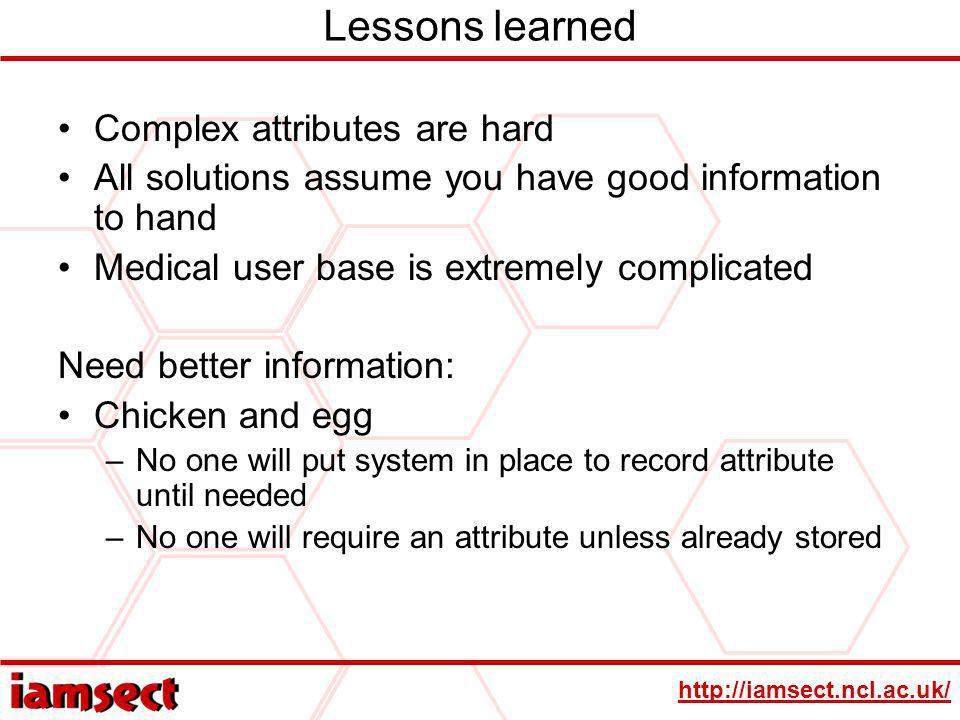 Lessons learned Complex attributes are hard All solutions assume you have good information to hand Medical user base is extremely complicated Need better information: Chicken and egg –No one will put system in place to record attribute until needed –No one will require an attribute unless already stored